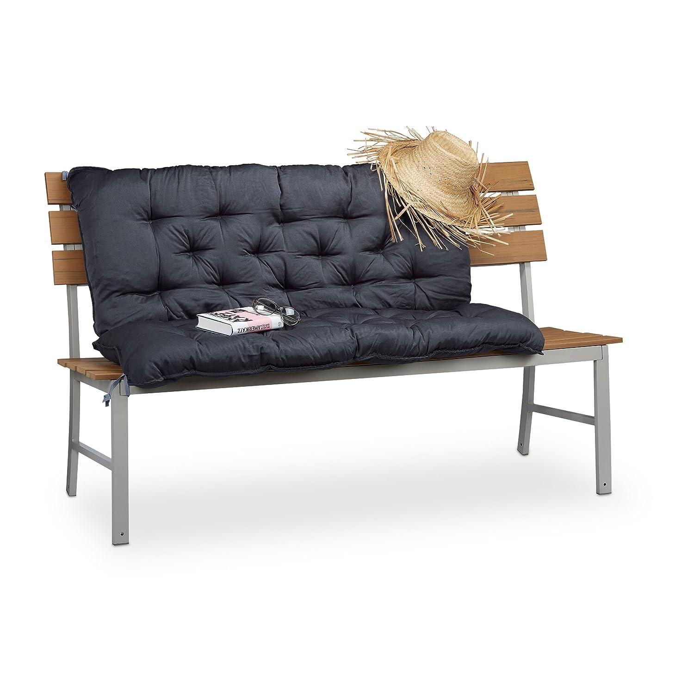Relaxdays 10023469_53 Cuscino per Panca con Schienale Imbottitura Panchine da Seduta con Spalliera Imbottita HLP: 10x119x96 cm, Verde/Beige