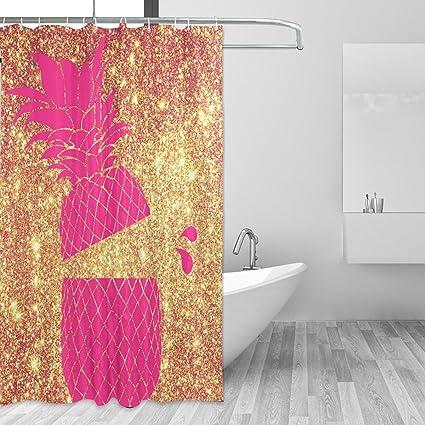 ALAZA Shower Curtain Backdrop Pink Bling Mermaid Pineapple Rose Gold Bathroom Set Fabric Bridal