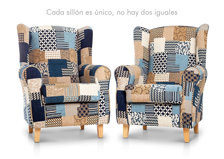 SUENOSZZZ - Sillon Relax, Sillon orejero para Lactancia Irene. Tapiceria Patchwork Azul. Butaca para Dormitorio, Salon o habitacion de Bebe | Sillon ...