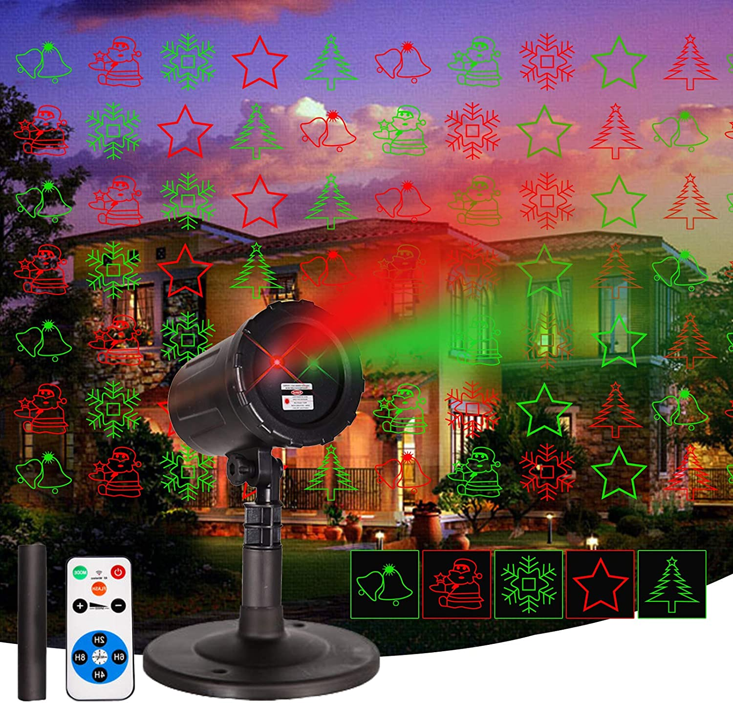 Laser Christmas ProjectorLights Outdoor Waterproof Projector Lights Garden Christmas Lights Star Show with Christmas Decorative Pattern Sand Remote Control for Indoor Outdoor GardenPatio Wall