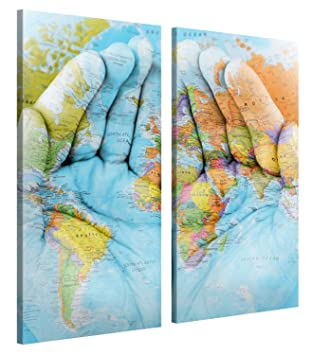 Amazoncom Large Canvas Print Wall Art World In Your Hands