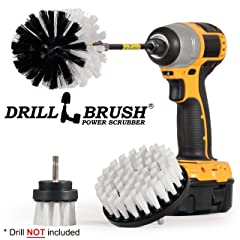 Drill Brush Car Washing and Detailing Power Brush Kit with Long-Reach Removable Extension. Auto Care Set Includes 3 Different Size Replaceable Soft White Scrubber Brushes with Quick Change Extender