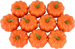 JEDFORE Fake Fruit Home House Kitchen Decoration Artificial Lifelike Simulation Mini Pumpkins Halloween Thanksgiving Day House Decoration - Set of 10 - Orange