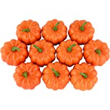 SAMYO Fake Fruit Home House Kitchen Decoration Artificial Lifelike Simulation Mini Pumpkins Halloween House Decoration-Set of 10 - Orange