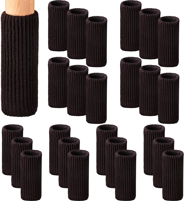 Zhehao 32 Packs Chair Leg Socks Knitted Furniture Socks Leg Floor Protectors Furniture Table Feet Covers (Dark Brown)
