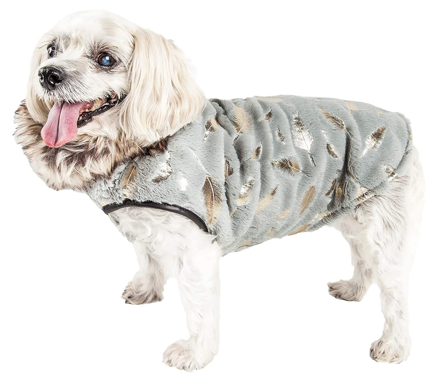 Grey X-small Grey X-small Pet Life Luxe 'gold-Wagger' gold-Leaf Designer Fur Dog Jacket Coat, X-Small, Grey