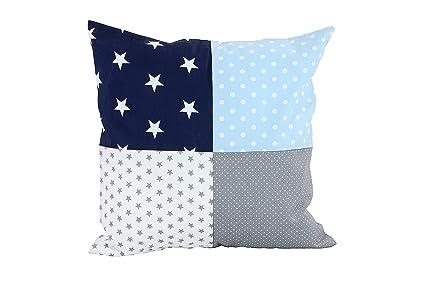 Funda patchwork para cojín de ULLENBOOM ® con azul claro azul gris (funda para cojín de 40 x 40 cm; 100% algodón; ideal como cojín decorativo para la ...