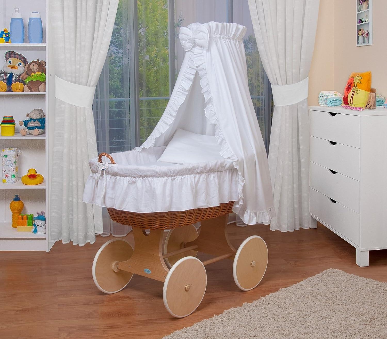 WALDIN Culla con cappotta,Culla con ruote XXL,IN 24 VARIANTI,telaio//ruote laccato,colore tessile bianco