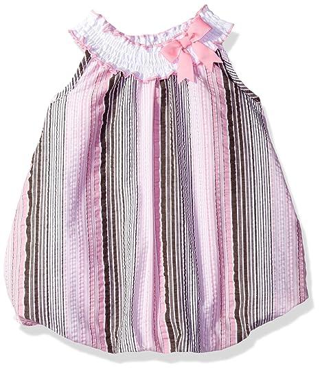 52997b6e1 Amazon.com: Rare Editions Baby Girls' Seersucker Rompers, Brown/Pink ...