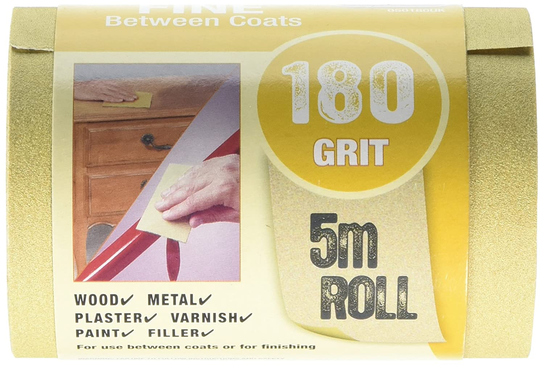 3M 050180UK 5 m P180'Between Coats' Fine Grit Sandblaster Sandpaper Abrasive Roll - Gold 3MAA4