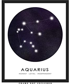 8x10 Aquarius Zodiac Consteallation Wall Art: Unique Room Decor for Boys Men /& Women - Great Gift Idea Girls Unframed Picture