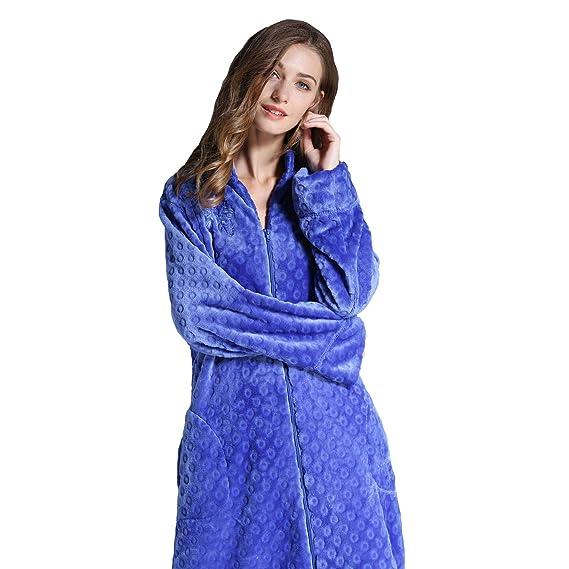 Bata De Mujer, Pijamas De Cremallera con Bordado De Franela De Albornoz (1Pcs), Blue, L: Amazon.es: Ropa y accesorios