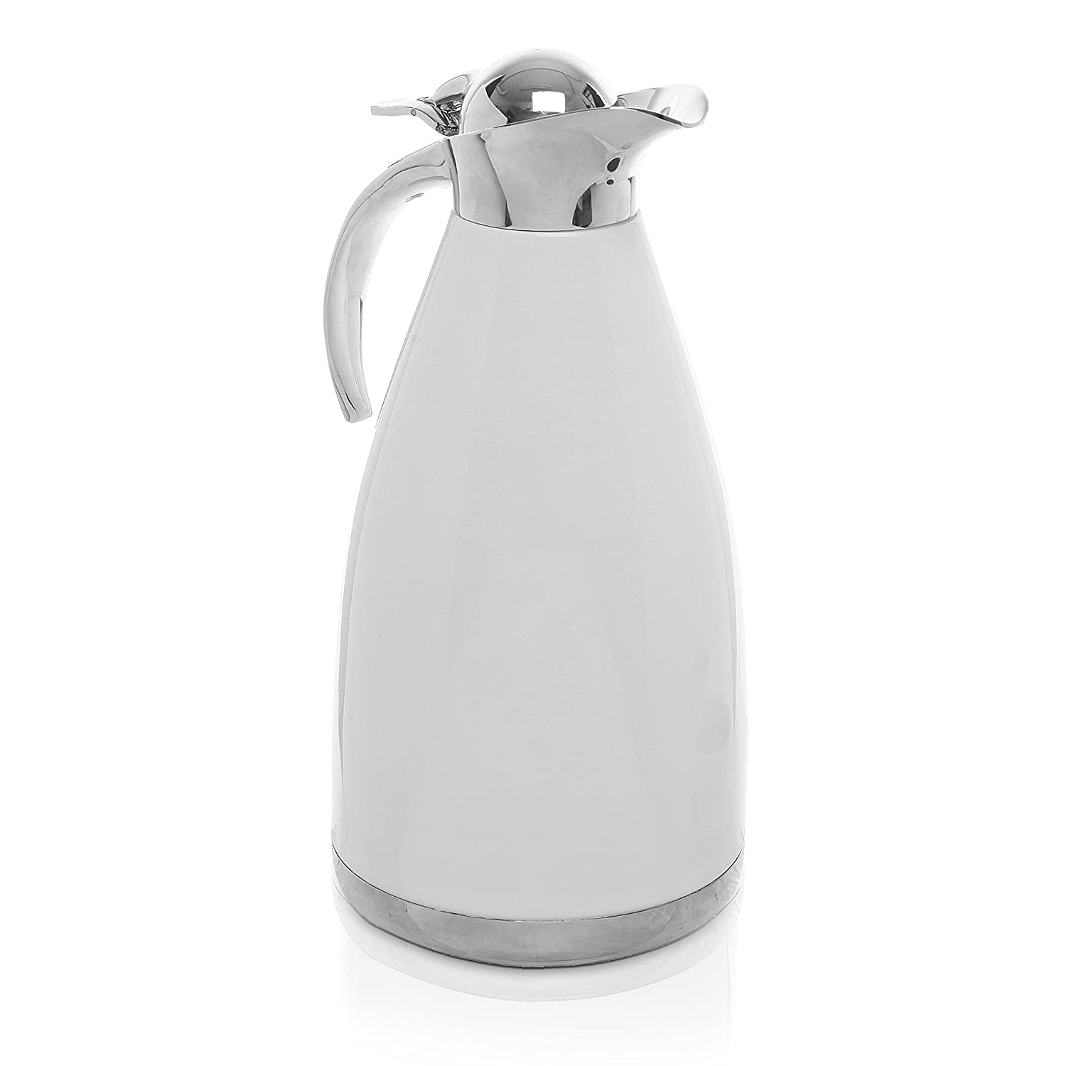 2.0L White Stainless Steel Double Wall Vacuum Insulated Thermal Carafe / Hot Coffee & Tea Serving Pitcher MyGift CECOMINOD081827
