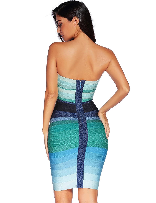 Amazon.com: Meilun Women\'s Bandage Straless Dress Bodycon Rainbow ...