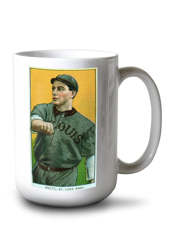セントルイスBrowns – Barney Pelty – 野球カード 15oz Mug LANT-3P-15OZ-WHT-23122 B077RS9YN6  15oz Mug