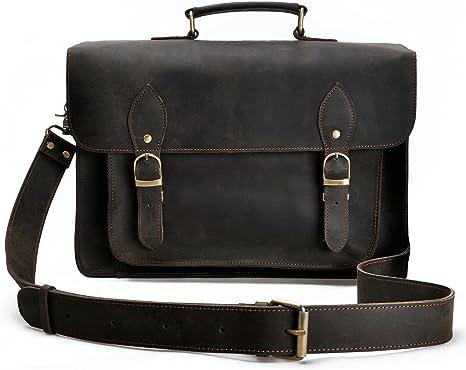 Vintage Leather Bazaar Dark Brown Handcrafted Genuine Leather DSLR Camera Bag Briefcase Messenger Crossbody Bag 18 Inch