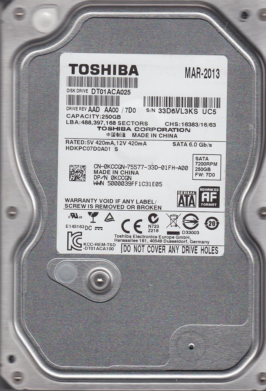 AA00//7D0 HDKPC07D0A01 S Toshiba 250GB SATA 3.5 Hard Drive DT01ACA025