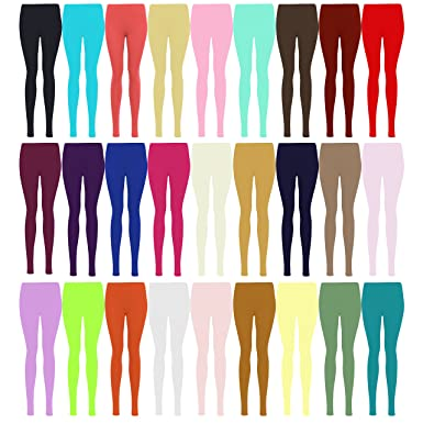 f4706063c2c74 LessThanTenQuid Missloved TM Plus Size Plain Stretchy Viscose Lycra Leggings  UK Sizes 12-26 * 25+ Colours *: Amazon.co.uk: Clothing