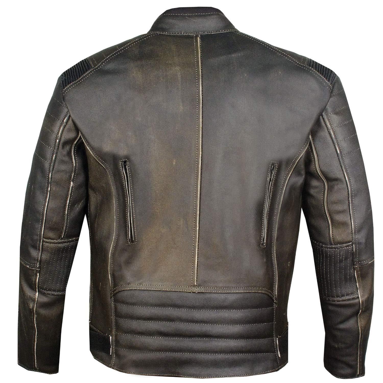 GLORY Mens Vintage Distress Motorcycle Armor Leather Black Biker Jacket XL