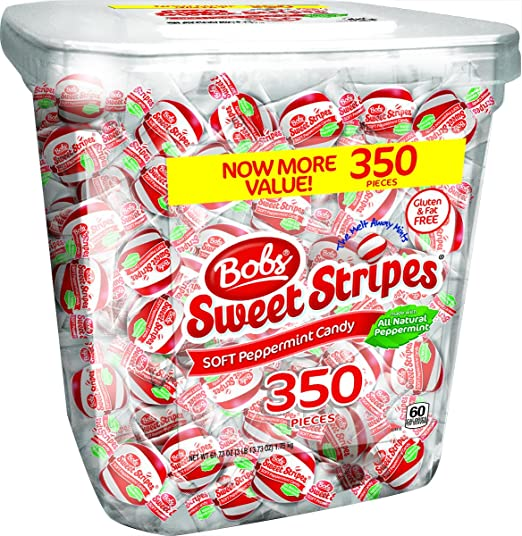 Bob's Sweet Stripes Soft Peppermint Candy, 350Count, 61.73 Oz