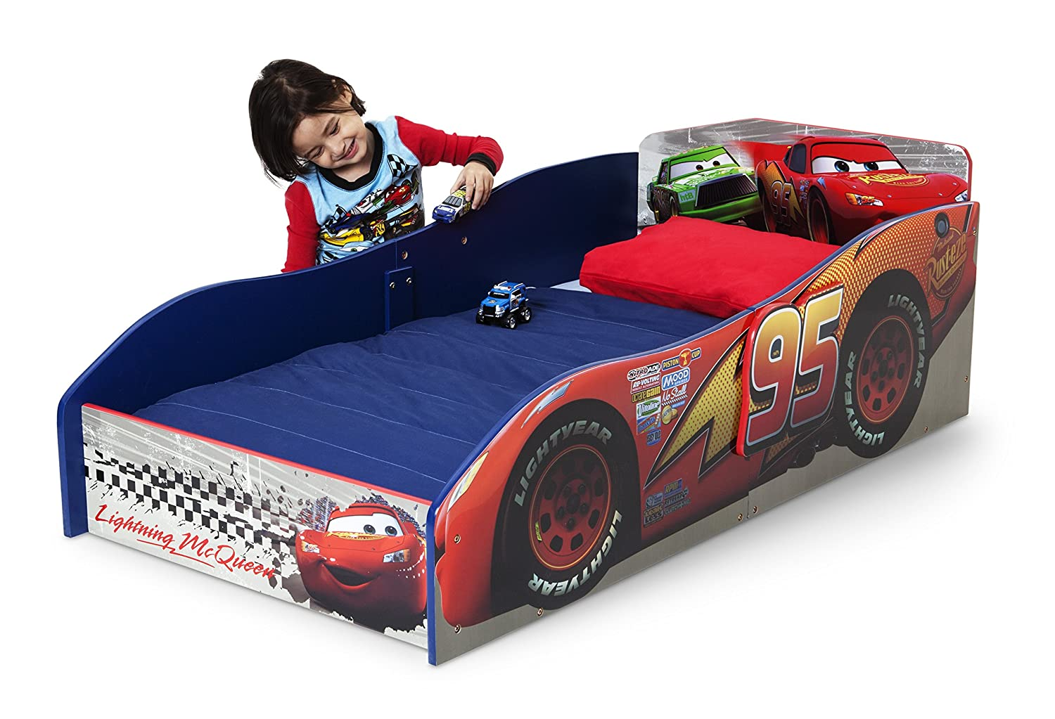 amazoncom delta children wood toddler bed disneypixar cars toddler beds for boys baby