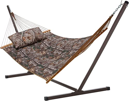 Castaway Hammocks Quilted Hammock Combo with 12 Foot Steel Portable Stand and Pillow, Camo