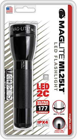"Mag-Lite Flashlight 9.25/"" 3rd Generation LED 2D Black Aluminum Body 50034"