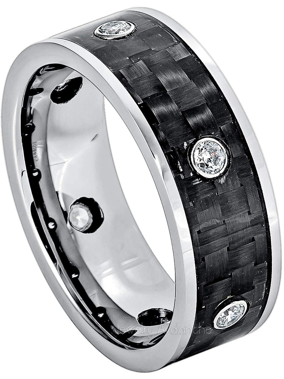 6 /& 8 MM Titanium Men/'s Wedding Engagement Ring Carbon Fiber and CZ Gem