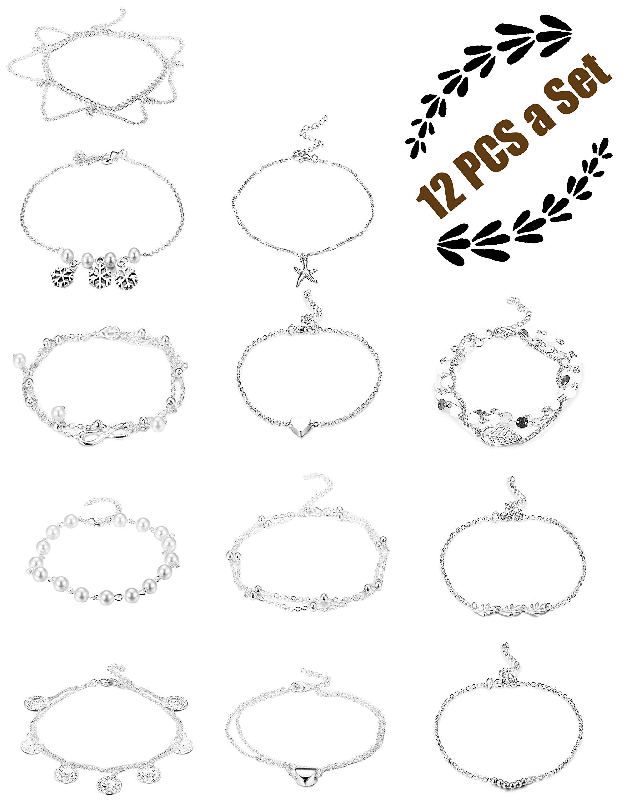 FIBO STEEL 12 Pcs Anklets for Women Girls Chain Bracelets Adjustable Beach Foot Jewelry