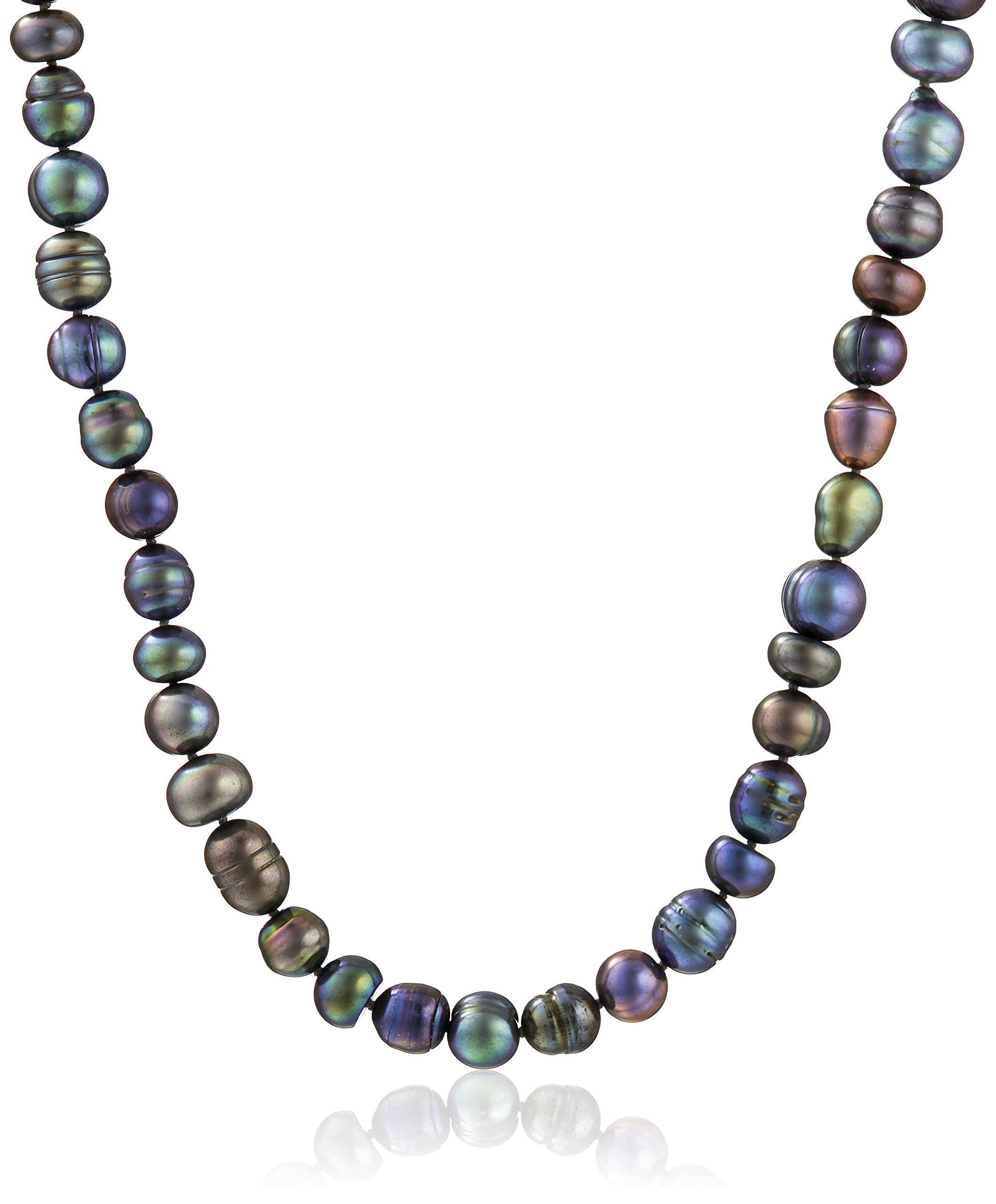 Sterling Silver 9-11mm Assorted Black Freshwater Cultured Pearl Strand, 36''