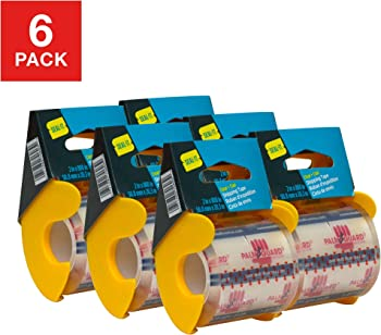 6-Pack Seal-It Super Clear Shipping Tape on PalmGuard Dispensers