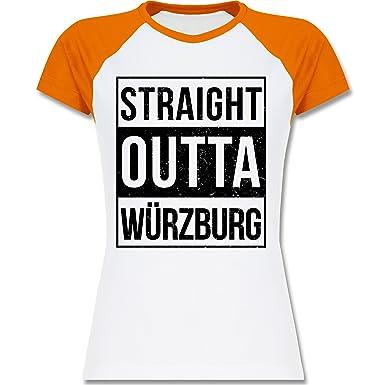 Franken Frauen - Straight Outta Würzburg schwarz - S - Weiß/Orange - L195 -