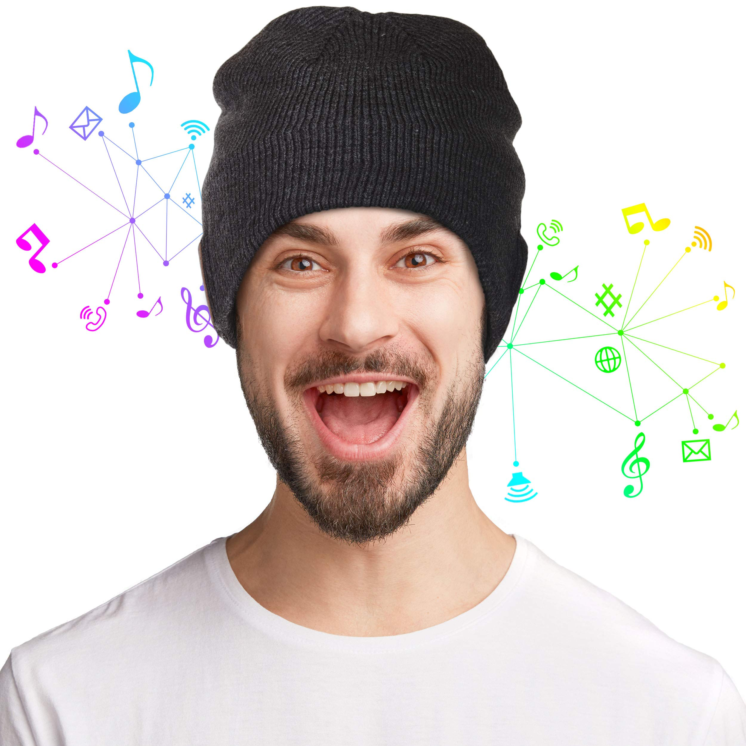 f5504e49b17 Accessory Innovations Bluetooth Wireless Knit Beanie with Built-in ...