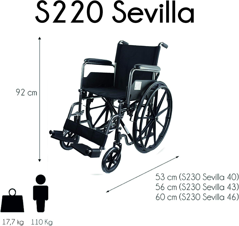 Mobiclinic, modelo S220, Silla de ruedas plegable premium, ortopédica, autopropulsable, para ancianos y minusválidos, reposapiés y reposabrazos
