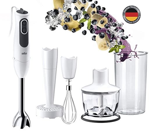 Braun Minipimer 3v MQ3137WH Sauce - Batidora de mano eléctrica, anti-salpicaduras, powerbell plus, paquete de accesorios premium, 750 w, de plástico, ...