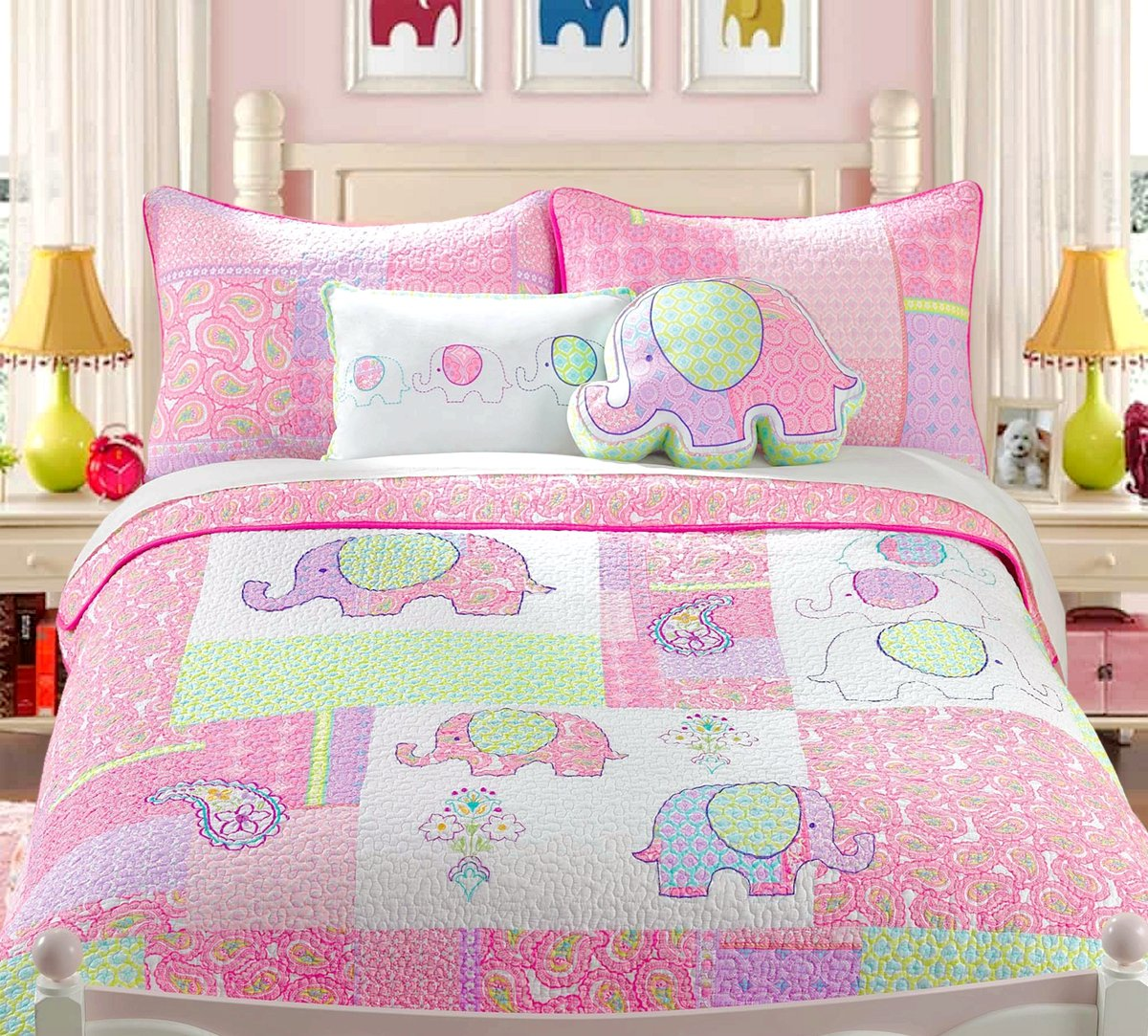 Cozy Line Home Fashions 4-Piece Quilt Bedding Set, Cute Elephant Pink Light Purple 100% COTTON Bedspread Coverlet Set, Gifts for Kids Girls (Twin- 4pc: 1 quilt + 1 shams + 2 Decorative Pillows )
