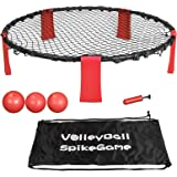 Smartxchoices Spike Battle Ball Game Combo Set, Outdoor Premium Volleyball Toss Bounce Ball Game for Backyard, Party, Beach, Lawn, Tailgates with 3 Balls, Drawstring Bag,1 Pump,Rules Book