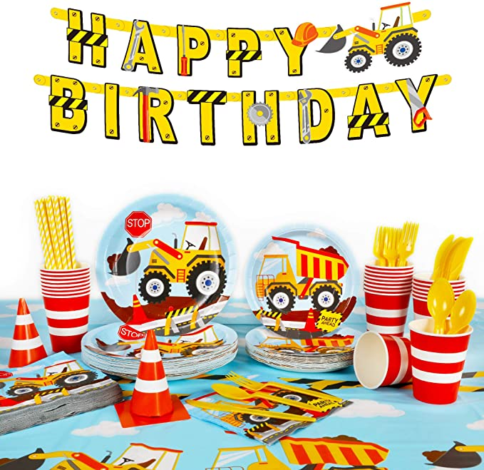"""Amazon.com: Decorlife 206PCS Construction Birthday Party Supplies for Boys, Construction Party Decorations with Plates, 54"""" x 108"""" Tablecloth, Happy Birthday Banner, Napkins, Cups, Cutlery Set, Straws, Traffic Cones - Serves 24: Toys & Games"""