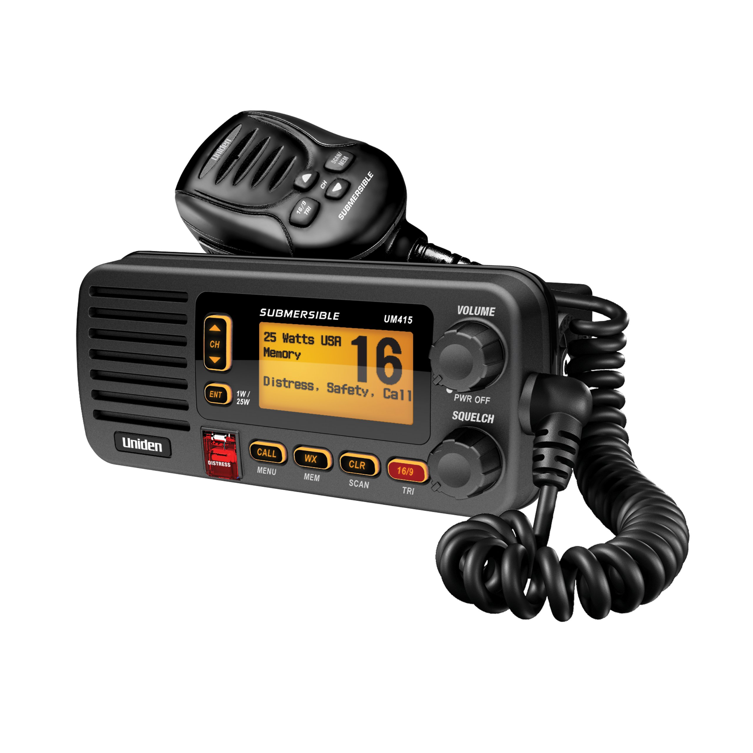 Uniden UM415 Advanced Fixed Mount VHF Marine Radio DSC, Ultra Compact Rugged Construction and JIS7 Submersible (New replacement model, Replaced by Uniden UM435BK) by Uniden