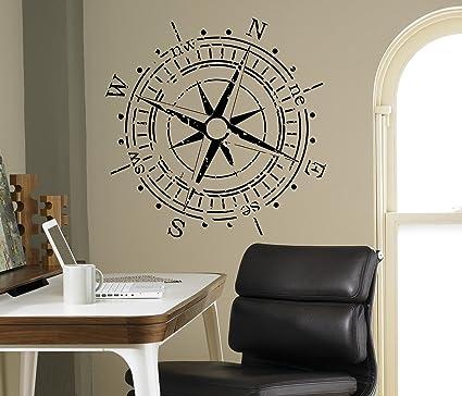 Amazon.com: Compass Rose Wall Vinyl Decal Nautical Marine Sea Wall ...