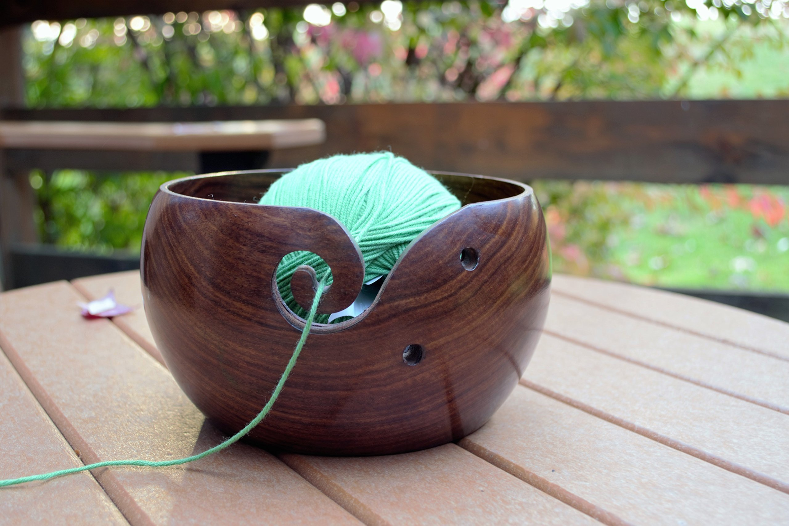 Hagestad Yarn Bowl -7''x4'' Rosewood -Wooden -Large with Free Travel Pouch & Crochet Hooks. Handmade from Sheesham - Heavy & Sturdy to Prevent Slipping. Perfect Yarn Holder for Knitting & Crocheting by Hagestad (Image #5)