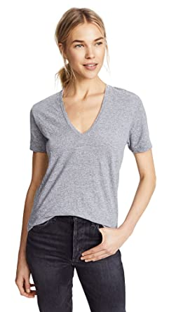 c3bb4f023c2 Amazon.com: Monrow Women's Oversized V Neck Tee, Granite, Grey, X ...