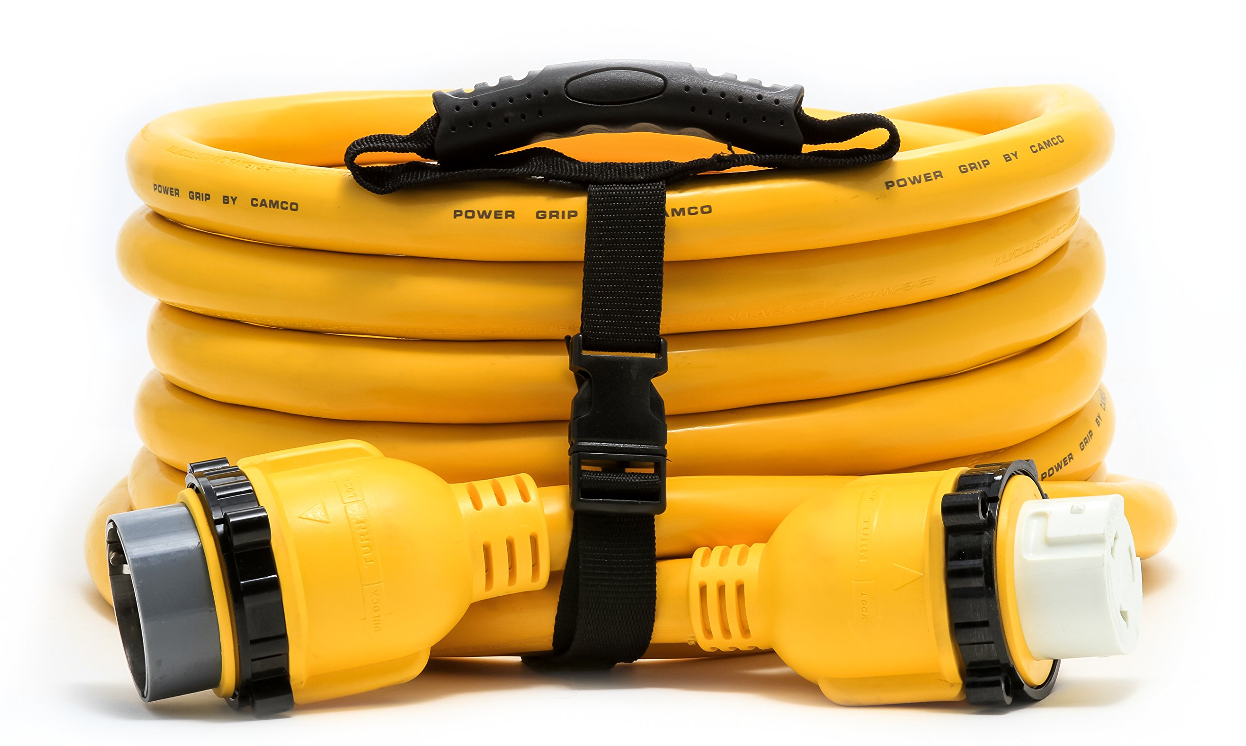 Camco 25' PowerGrip Marine Electrical Extension Cord with 50-Amp Male Locking End and 50-Amp Female Locking End Adapters (55621)