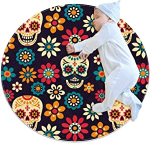 Area Rugs for Bedroom, Ultra-Luxurious Soft and Thick Non-Slip Carpet for Kids Baby Room, Nursery Modern Decor Rug 2.3Ft, Mexican Sugar Skull Flower Colorful