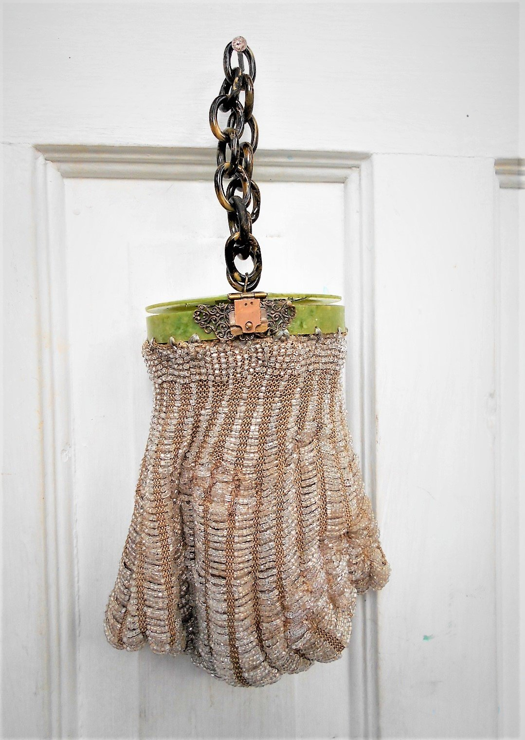 Roaring 20s Flapper Purse, Sparkling Clear Beads w/ Beige Tapered Crocheted Bag Colorful Celluloid Top & Chain. Gorgeous, Nearly 100 Years