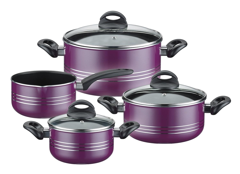 GSW 800402Milano Cooking Pot Set 4Pieces Purple Aluminium, 24cm, 7Units