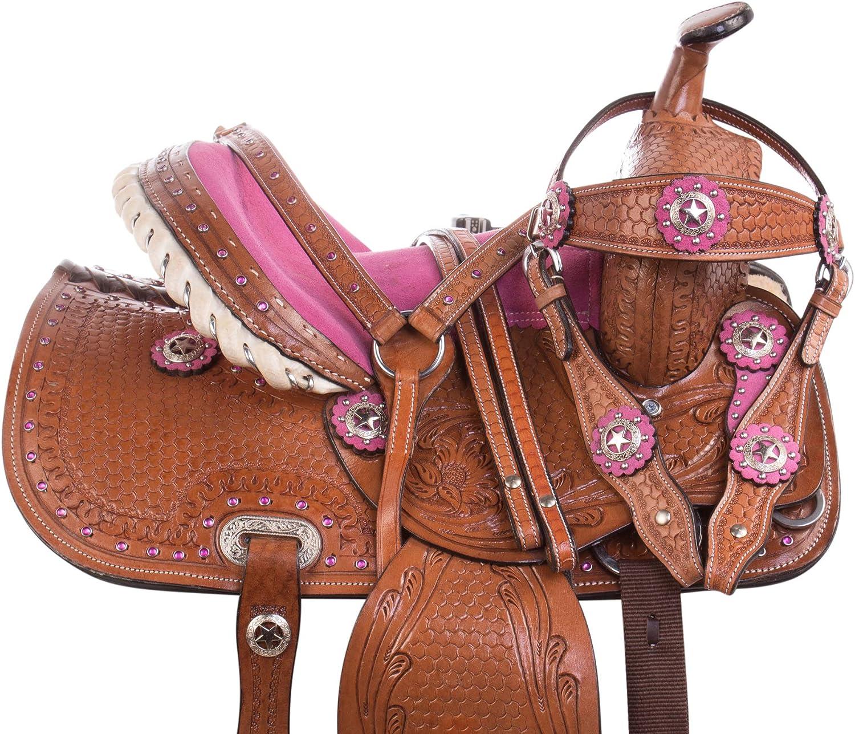 Western Kids Youth PonyサドルタックセットキュートピンクスエードSeat 10 12 13