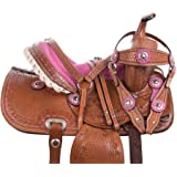 Acerugs Crystal Show Youth Kids Western Barrel Racing Horse OR Pony Saddle TACK Set Pleasure Trail Bridle REINS Breast Collar