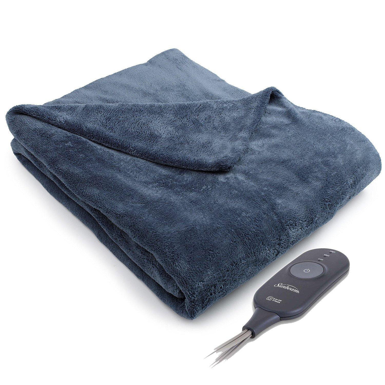 Sunbeam Microplush Electric Heated Warming Throw Blanket Walnut Brown