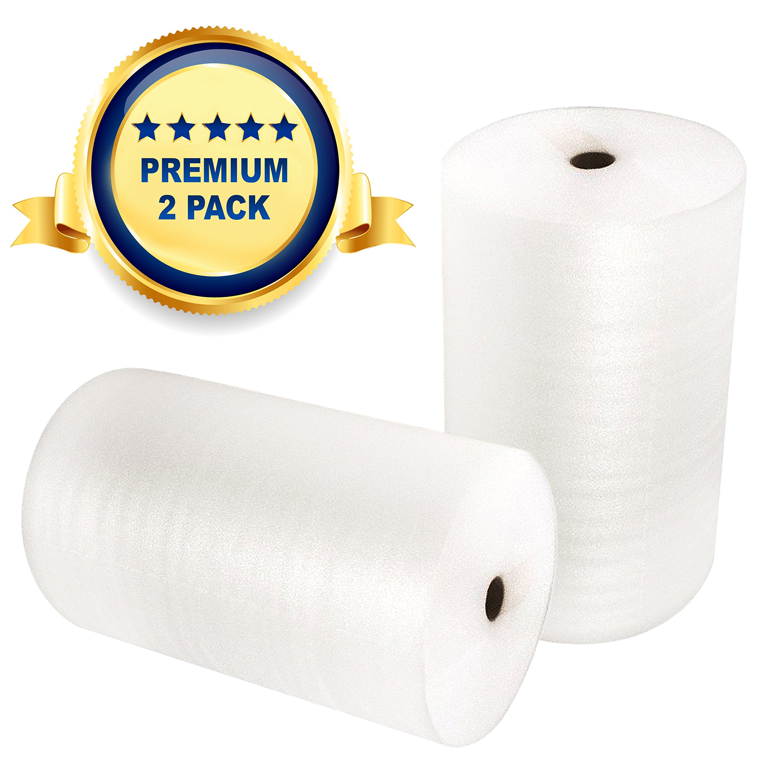 Foam Wrap Roll 104' x 12'' (2Pack) 52 Feet per Roll - Foam Wrapping for Shipping, Moving and Storage - Protective Packing Wrap for Glasses, Dishes, Electronics and Other Breakable Items